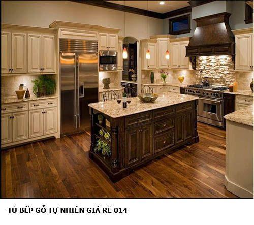 tủ bếp gỗ tự nhiên giá rẻ 014