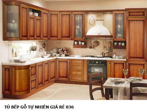 tủ bếp gỗ tự nhiên giá rẻ 036