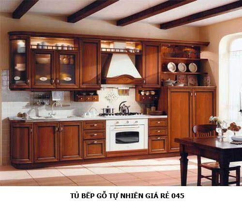 tủ bếp gỗ tự nhiên giá rẻ 045
