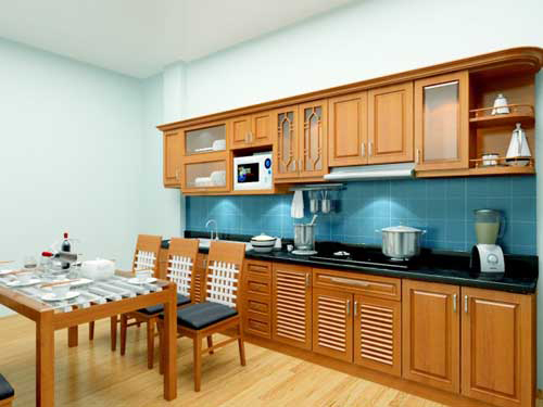 Kệ bếp gỗ tự nhiên 067