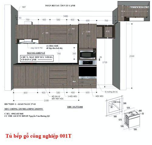 Kệ tủ bếp gỗ công nghiệp 001T