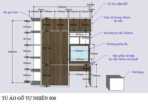 Tủ áo gỗ công nghiệp đẹp giá rẻ 006