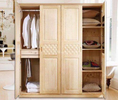 Tủ quần áo gỗ tự nhiên giá rẻ 001