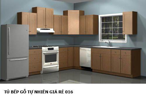 tủ bếp gỗ tự nhiên giá rẻ 016