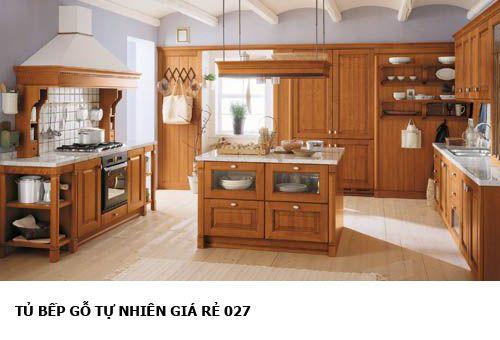 tủ bếp gỗ tự nhiên giá rẻ 027
