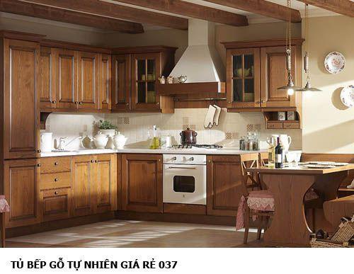 tủ bếp gỗ tự nhiên giá rẻ 037