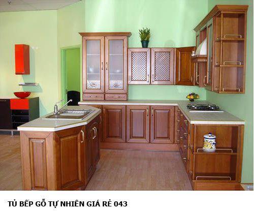 tủ bếp gỗ tự nhiên giá rẻ 043