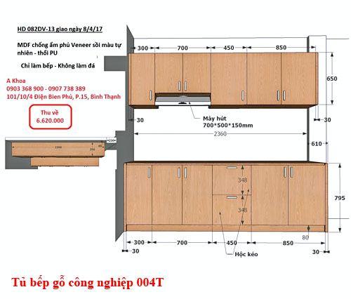 Kệ tủ bếp gỗ công nghiệp đẹp 004T
