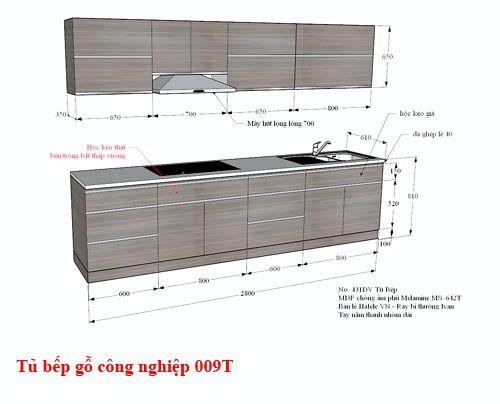 Kệ tủ bếp gỗ công nghiệp đẹp 009T