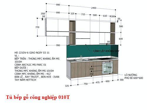 Kệ tủ bếp gỗ công nghiệp đẹp 010T