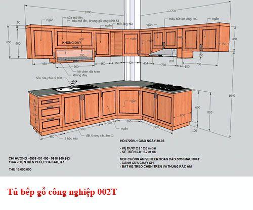 Kệ tủ bếp gỗ công nghiệp giá rẻ 002T