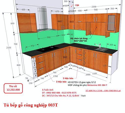 Kệ tủ bếp gỗ công nghiệp giá rẻ 003T