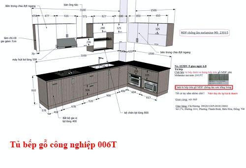 Kệ tủ bếp gỗ công nghiệp giá rẻ 006T