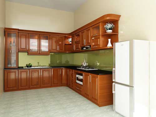 Kệ bếp gỗ tự nhiên 076