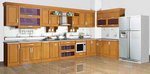 Kệ bếp gỗ tự nhiên 086