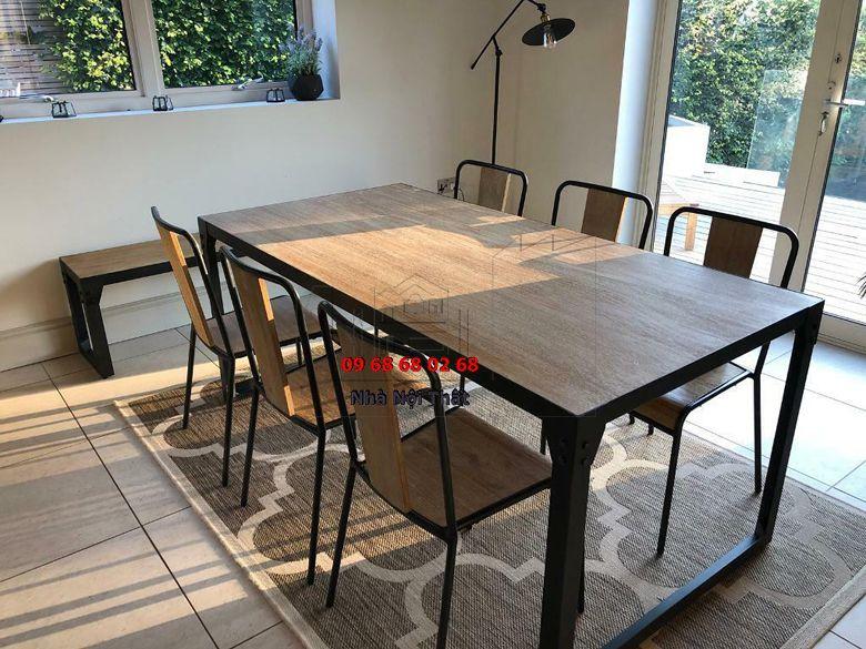 Bàn ghế ăn gỗ công nghiệp 003