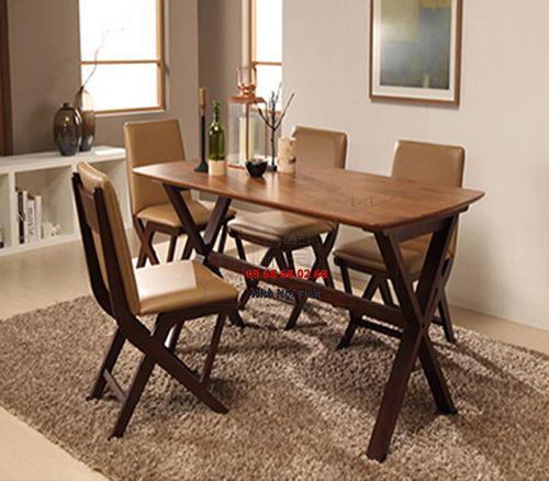 Bàn ghế ăn gỗ tự nhiên 019